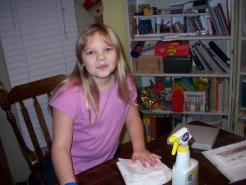Rachel cleans