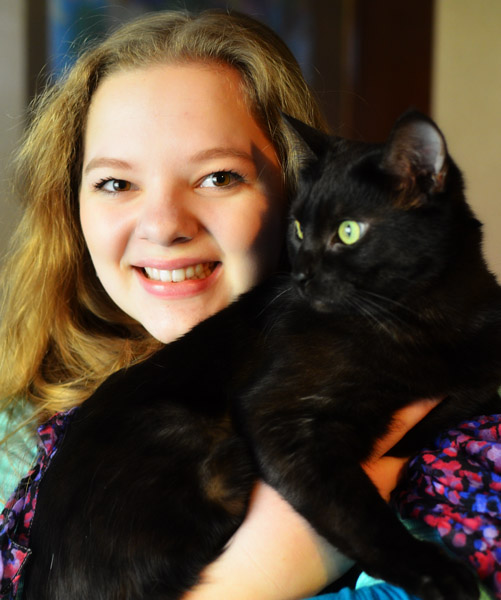 Rachel's favorite is Misty, who is the senior of our two cats.