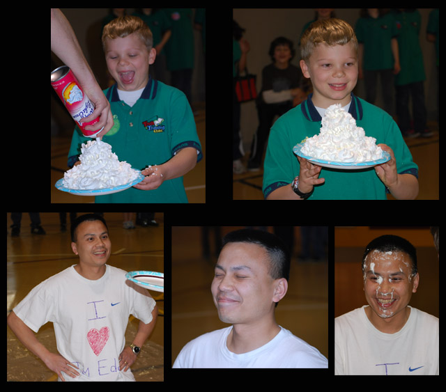 We are still good friends -- indeed, Tung would take a pie for me, as he did for this AWANA special event.