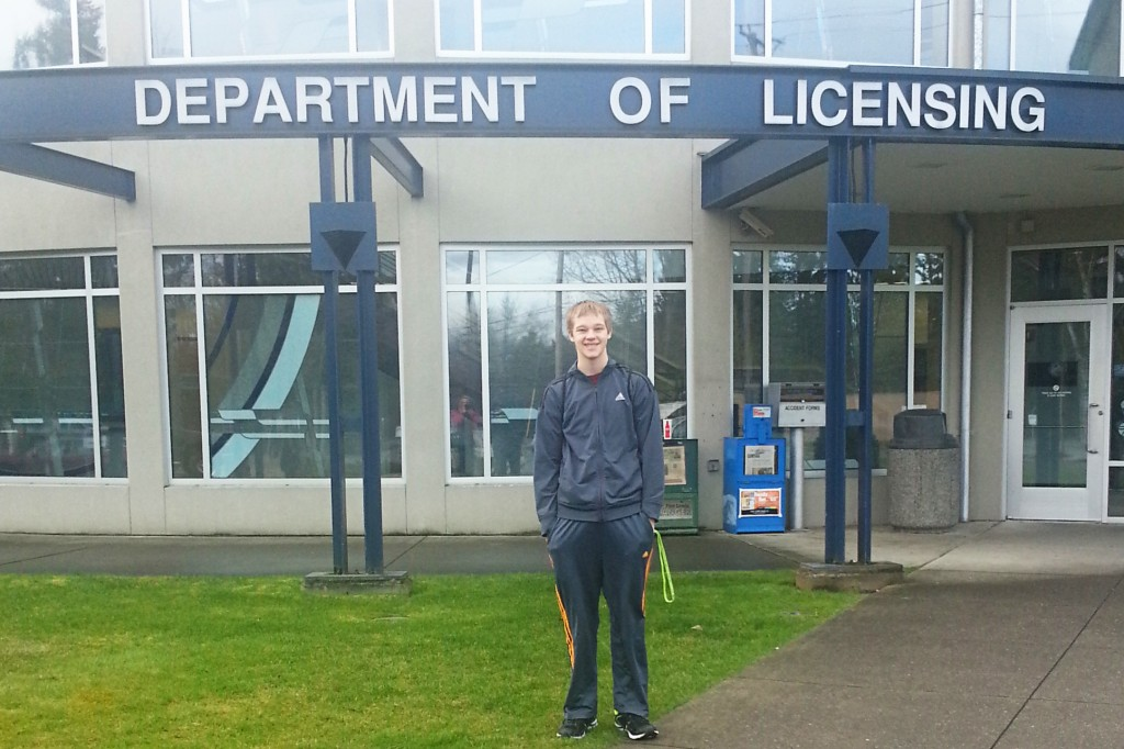 Dan, on his way into the Department of Licensing, to get his learner's permit.