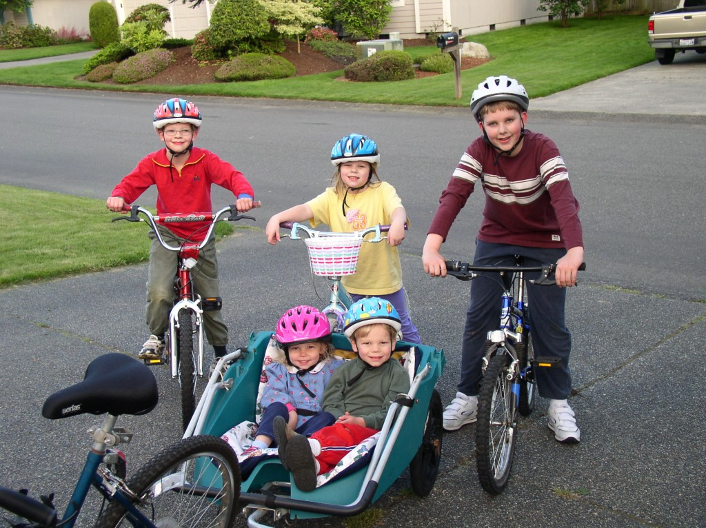 Family bike rides were always challenging, although David and Sarah had a pretty good gig.