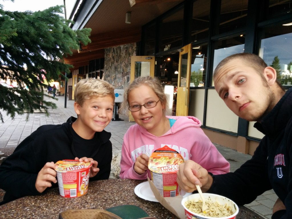 We ate noodles and soup for supper -- David (as treasurer) was later persuaded to buy us each an ice cream cup.