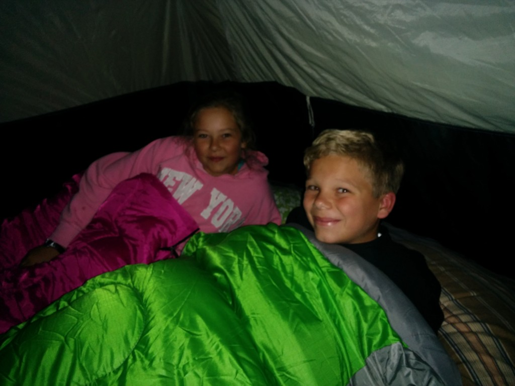 Four of us in a three-man tent was very snug -- but even so, Sarah was cold.