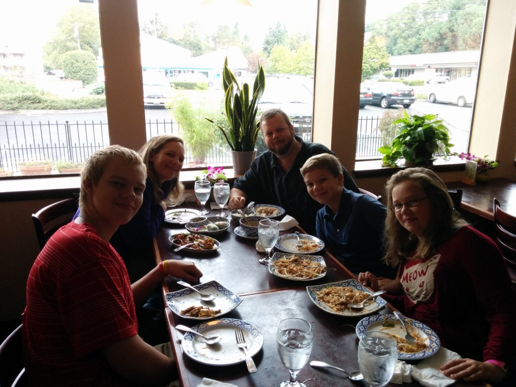 Lunch together (sans Joshua and Rachel, away at college) at our favorite Thai restaurant for my birthday.  A little more than a year ago, I was facing kidney cancer, and didn't know if I would HAVE another birthday.  Thank you, God, for another year of life!