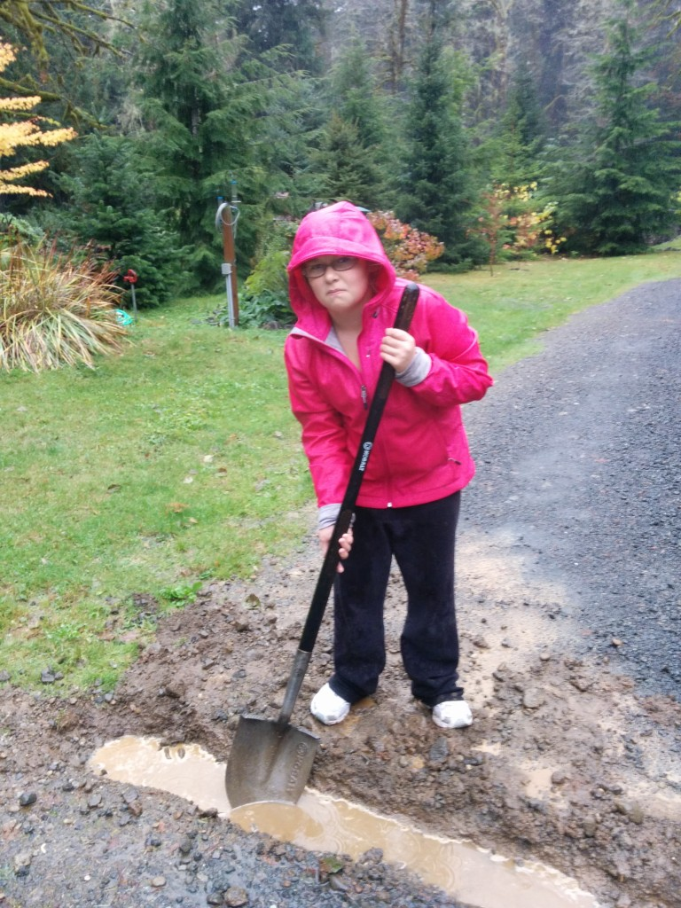 Sarah helped me dig this trench in the pouring rain.