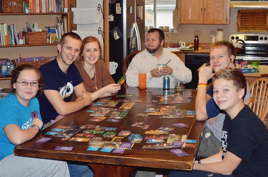 A game of 7 Wonders - Tim posed with my coffee cup.