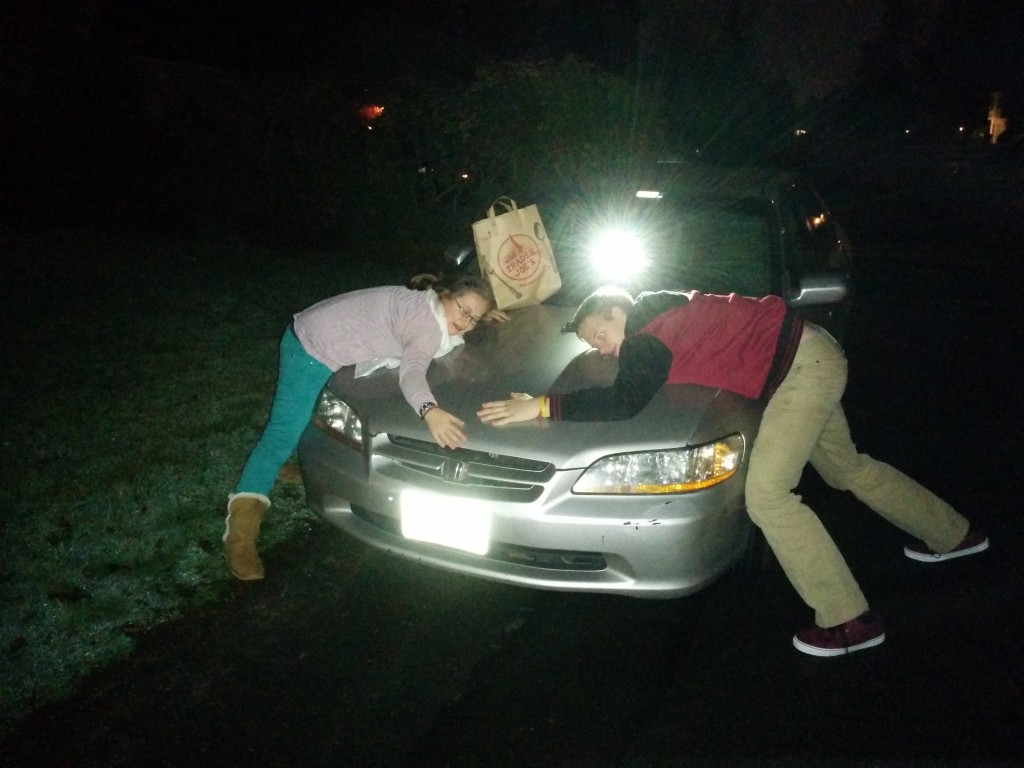Sarah and Daniel saying their goodbyes to Wanda the Honda.