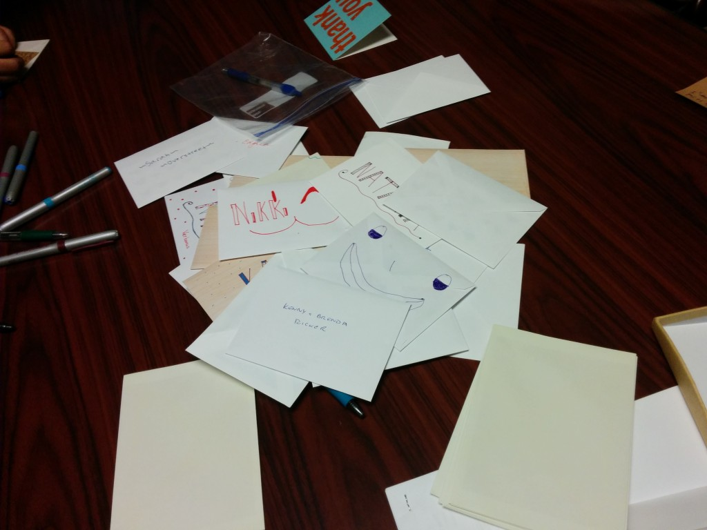 A pile of thank-you cards, written tonight.