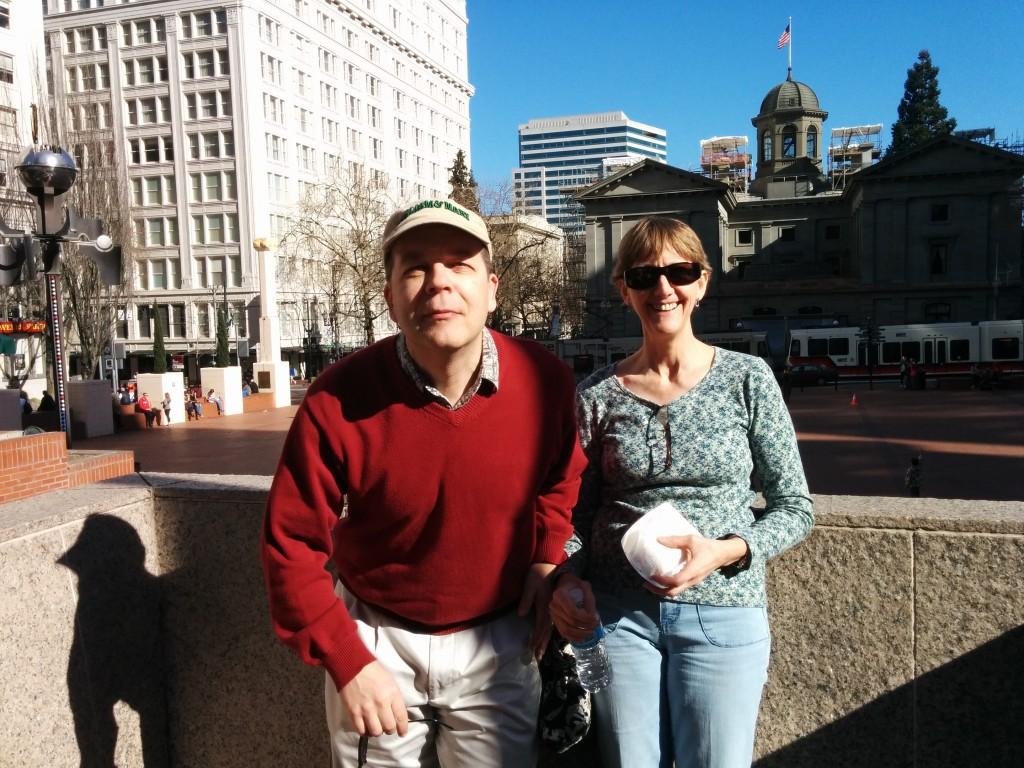 My brother and his beloved bride, at Pioneer Square, in Portland.
