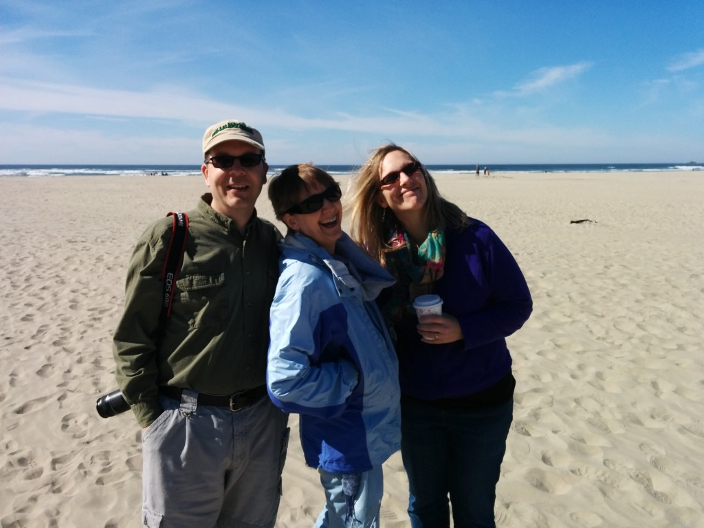 Mark and Liz and Kathy, enjoying Agate Beach and an unseasonably-warm March day.