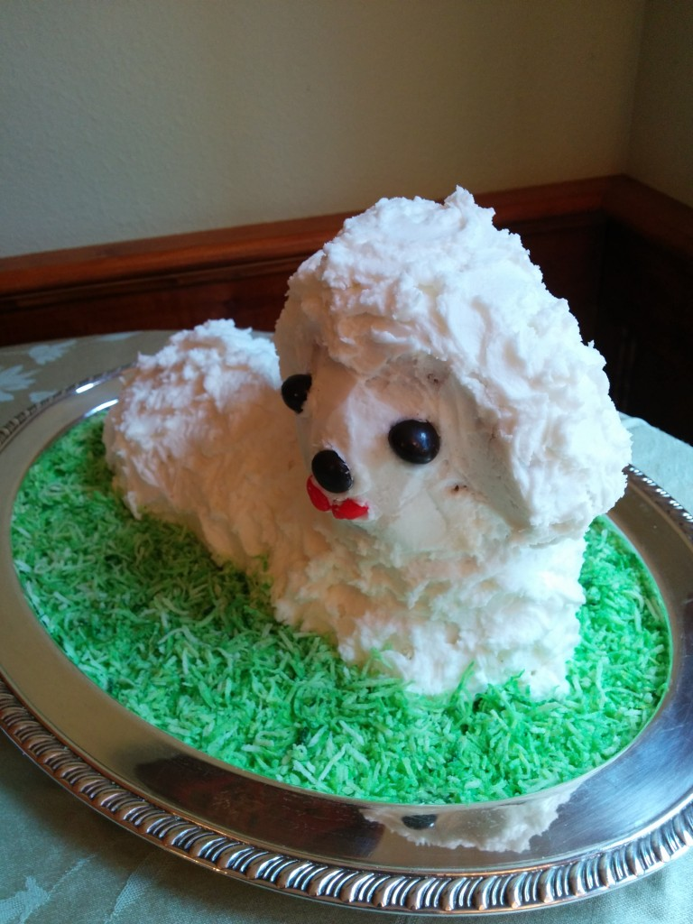 Mom made her traditional lamb cake for dessert, which was warmly appreciated.