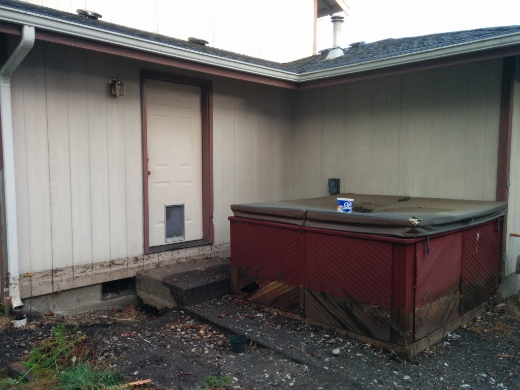 The deck is gone, but the hot tub remains ...