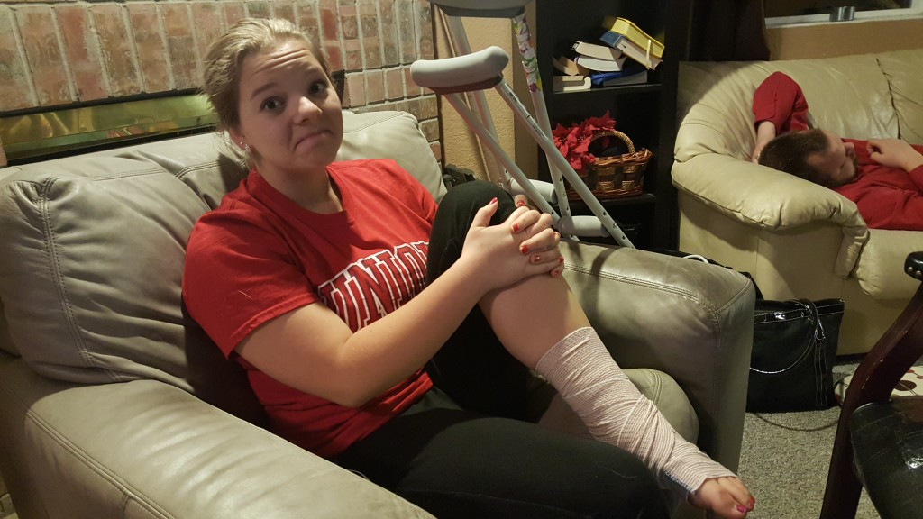 Poor Rachel - twisted her ankle during frisbee!