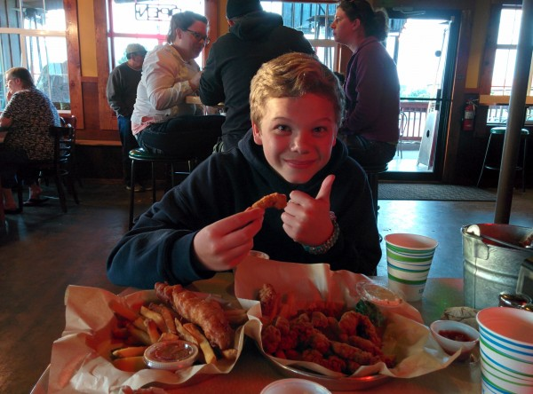 We celebrated by eating fish 'n chips and deep-fried clam strips.