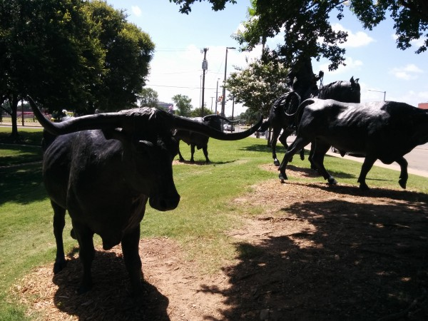 Although hollow, these metal cows are very sturdy.