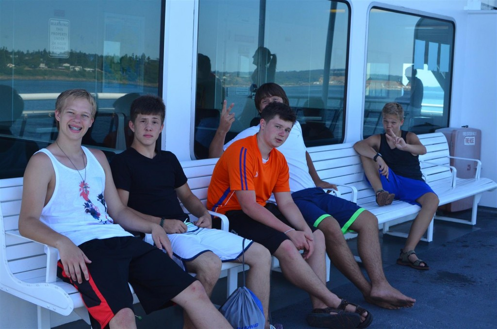 4th of July - Boys on the Ferry (Zach is in the orange)