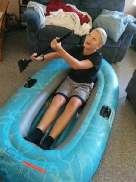 Paddle David, paddle!  You'll make it to shore.