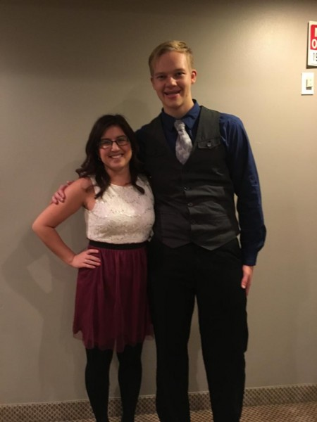 Bethany and Daniel all dressed up.