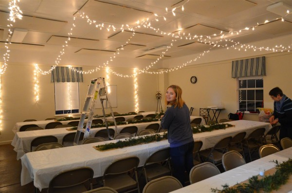 Michelle's idea to put up Christmas lights was excellent -- it really transformed the room.