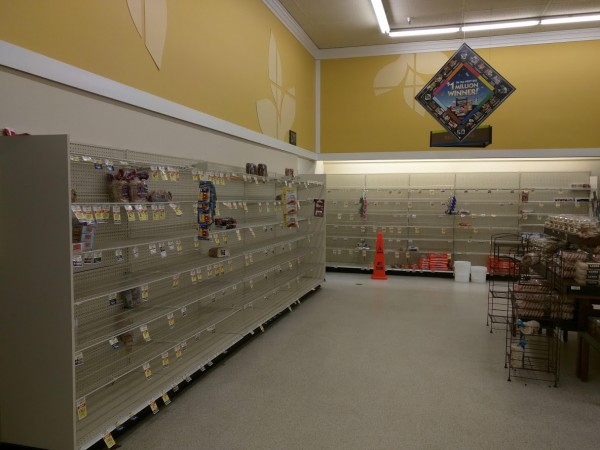 My local grocery store bread aisle, in response to a simple snow storm in 2019.