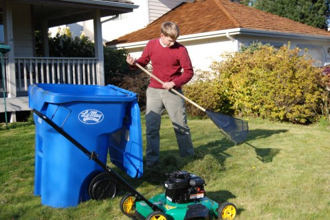 Lawn-boy, hard at work