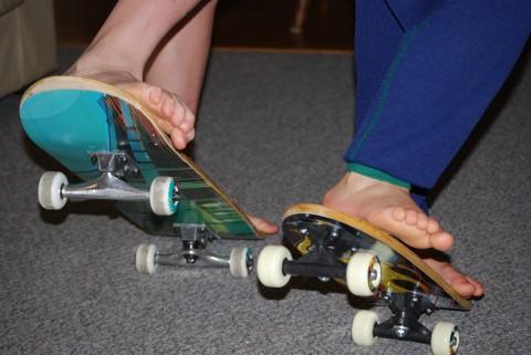 two feet, skating away