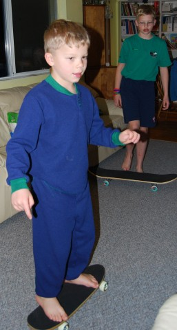 david tries out his new skateboard