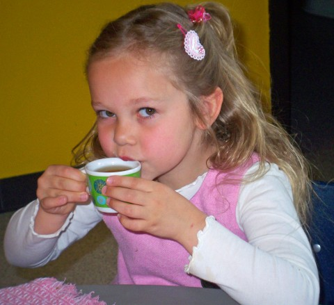 sarah sips her tea daintily