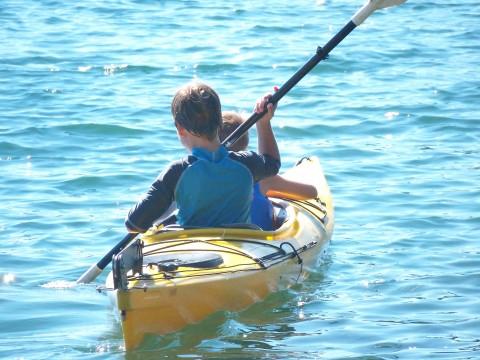 paddling hard