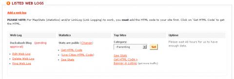 Adding a web log