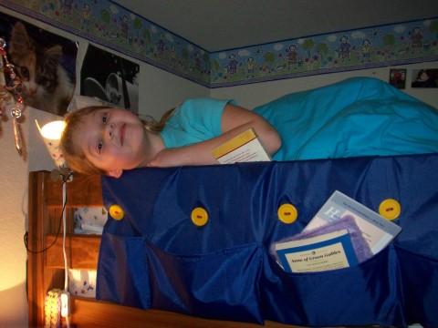 rachel's reading in bed