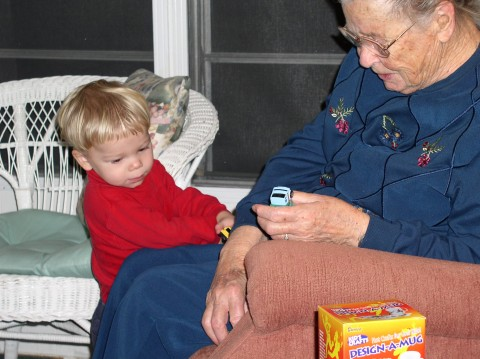 David and Grandma play cars