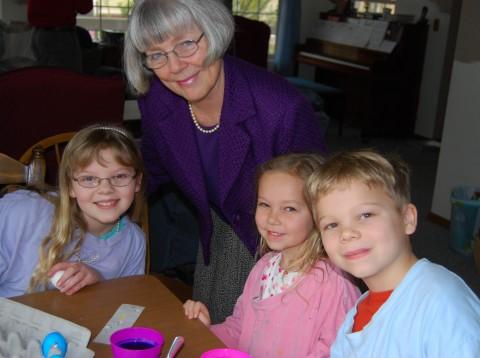 grandma helped dye eggs