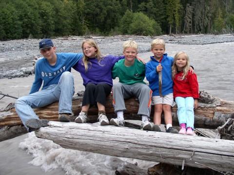 Five on a log